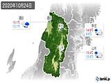 2020年10月24日の山形県の実況天気