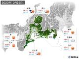 2020年10月25日の東海地方の実況天気