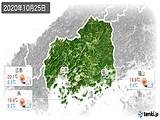 2020年10月25日の広島県の実況天気