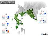 2020年10月25日の道南の実況天気