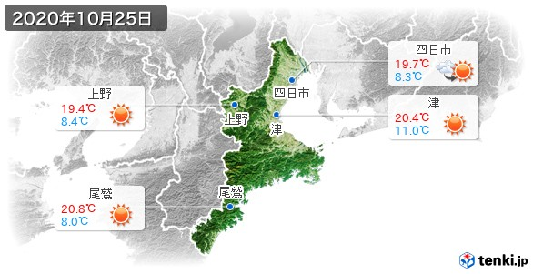 三重県(2020年10月25日の天気