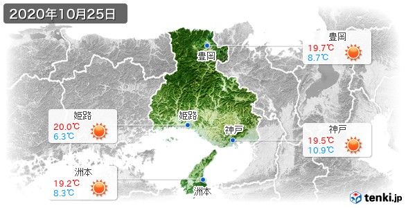 兵庫県(2020年10月25日の天気