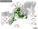 2020年10月26日の東海地方の実況天気
