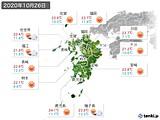 2020年10月26日の九州地方の実況天気