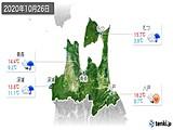 2020年10月26日の青森県の実況天気