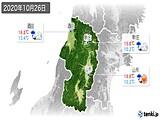 2020年10月26日の山形県の実況天気