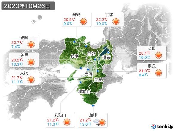 近畿地方(2020年10月26日の天気