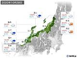 2020年10月28日の北陸地方の実況天気