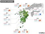 2020年10月28日の九州地方の実況天気