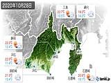 2020年10月28日の静岡県の実況天気