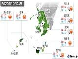 2020年10月28日の鹿児島県の実況天気