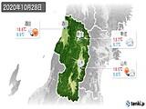 2020年10月28日の山形県の実況天気