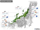 2020年10月29日の北陸地方の実況天気