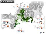 2020年10月29日の東海地方の実況天気
