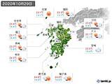 2020年10月29日の九州地方の実況天気