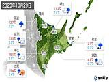 2020年10月29日の道東の実況天気