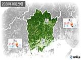 2020年10月29日の岡山県の実況天気
