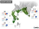 2020年10月29日の道南の実況天気