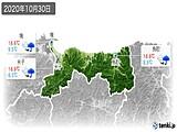 2020年10月30日の鳥取県の実況天気