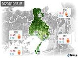 2020年10月31日の兵庫県の実況天気