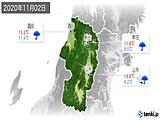 2020年11月02日の山形県の実況天気