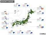 2020年11月02日の実況天気
