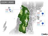 2020年11月09日の山形県の実況天気