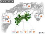 2020年11月17日の四国地方の実況天気