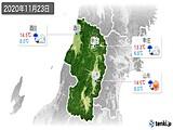 2020年11月23日の山形県の実況天気
