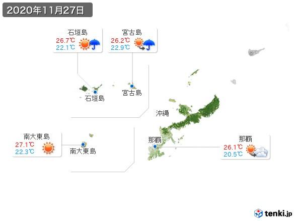 沖縄地方(2020年11月27日の天気