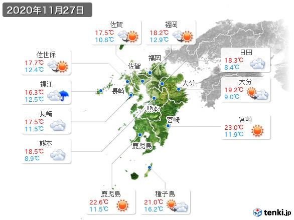 九州地方(2020年11月27日の天気