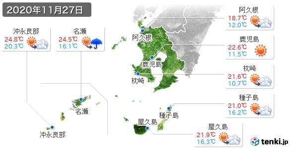 鹿児島県(2020年11月27日の天気