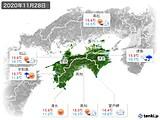 2020年11月28日の四国地方の実況天気