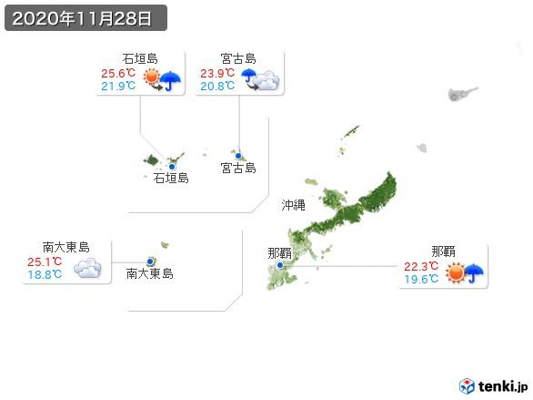 沖縄地方(2020年11月28日の天気