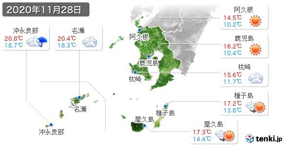 鹿児島県(2020年11月28日の天気