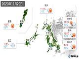 2020年11月29日の長崎県の実況天気
