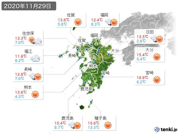 九州地方(2020年11月29日の天気