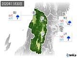 2020年11月30日の山形県の実況天気