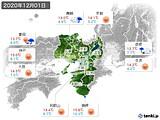 2020年12月01日の近畿地方の実況天気