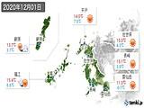 2020年12月01日の長崎県の実況天気