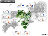 2020年12月03日の近畿地方の実況天気
