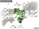 2020年12月09日の近畿地方の実況天気