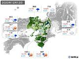 2020年12月12日の近畿地方の実況天気