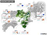 2020年12月13日の近畿地方の実況天気