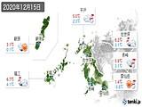 2020年12月15日の長崎県の実況天気