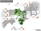 2020年12月21日の近畿地方の実況天気