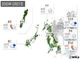 2020年12月21日の長崎県の実況天気