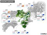 2020年12月24日の近畿地方の実況天気