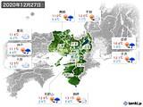2020年12月27日の近畿地方の実況天気