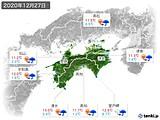 2020年12月27日の四国地方の実況天気